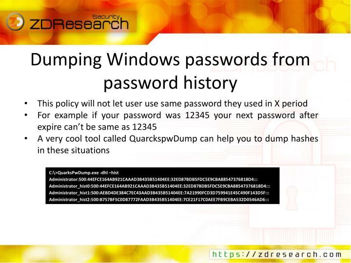 Dumping Windows passwords from password history