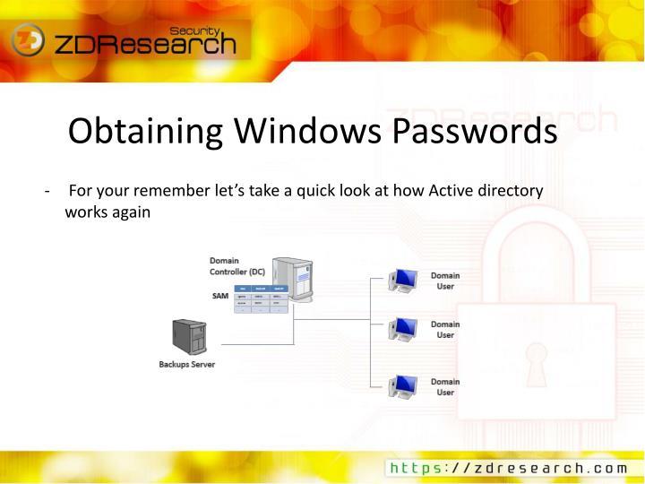Obtaining Windows Passwords