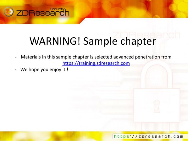 WARNING! Sample chapter