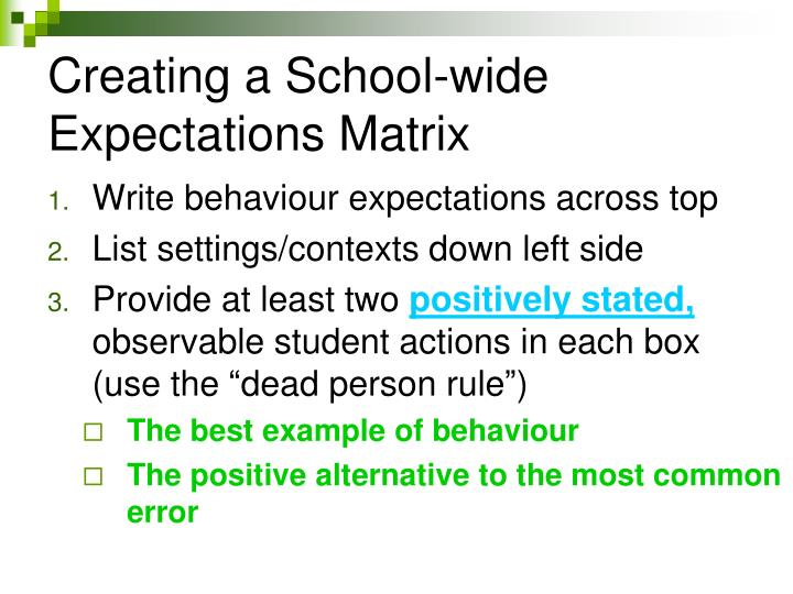 Creating a School-wide Expectations Matrix