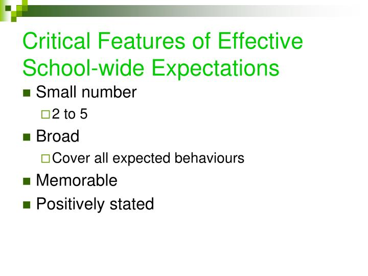 Critical Features of Effective