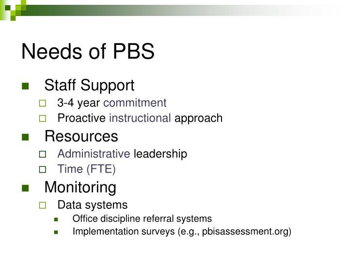 Needs of PBS