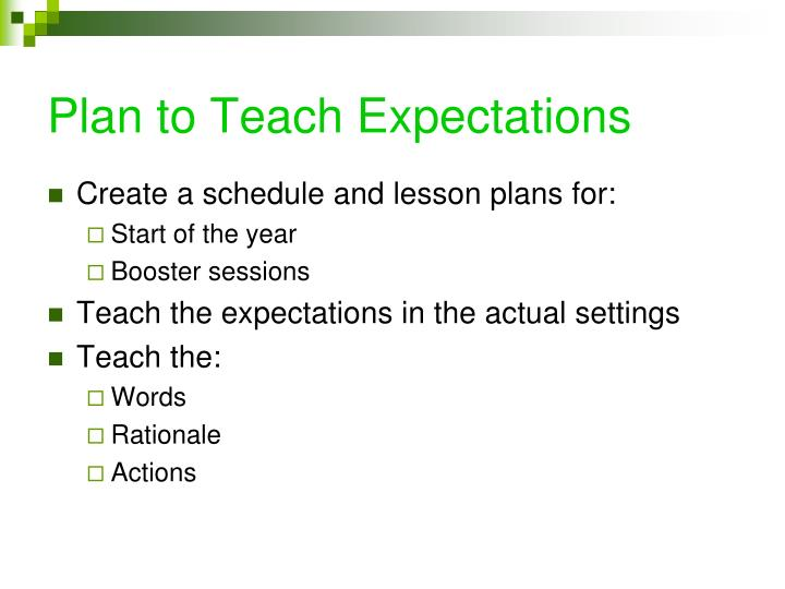 Plan to Teach Expectations