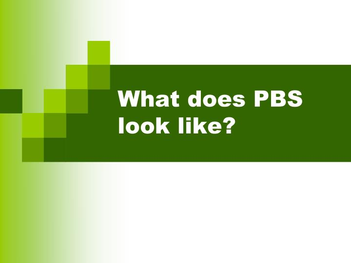What does PBS  look like?