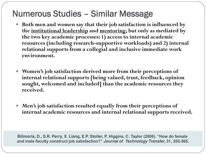 Numerous Studies – Similar Message