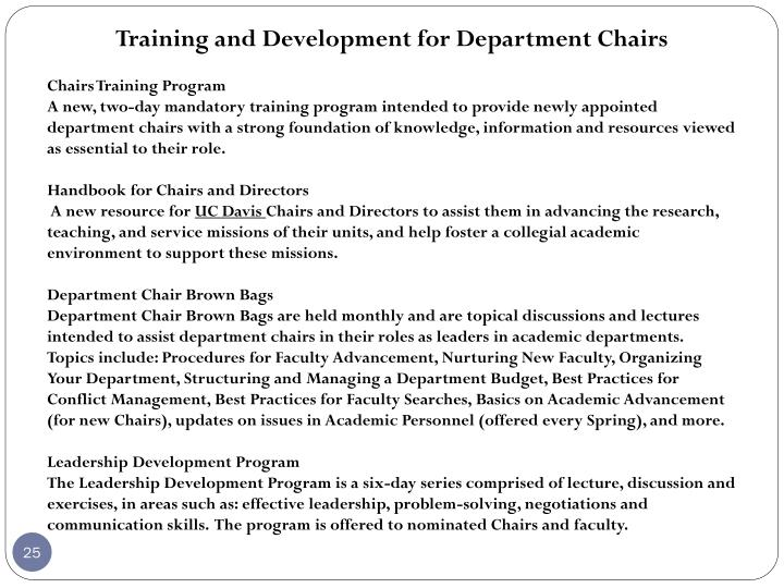 Training and Development for Department Chairs