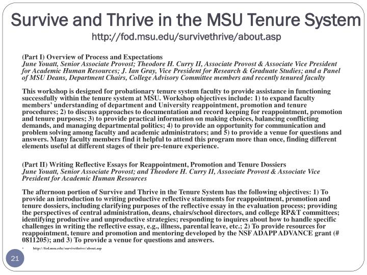Survive and Thrive in the MSU Tenure System