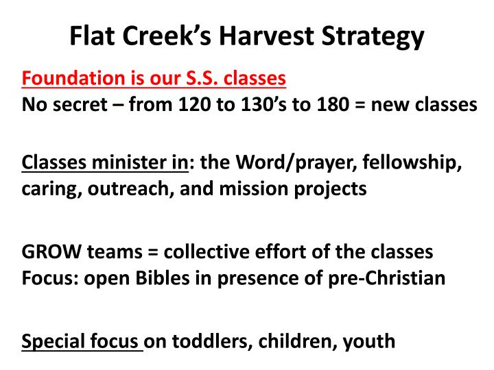 Flat Creek's Harvest Strategy