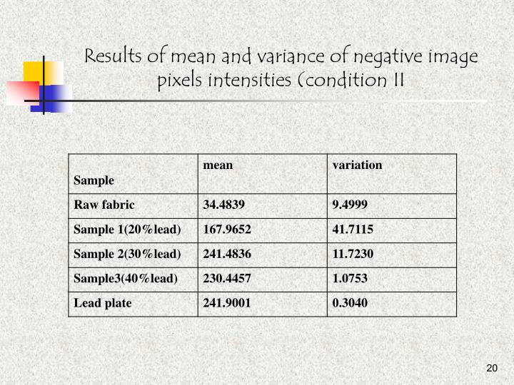 Results of mean and variance of negative image pixels intensities (condition II