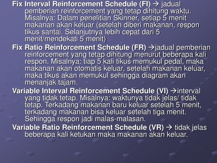 Fix Interval Reinforcement Schedule (FI)