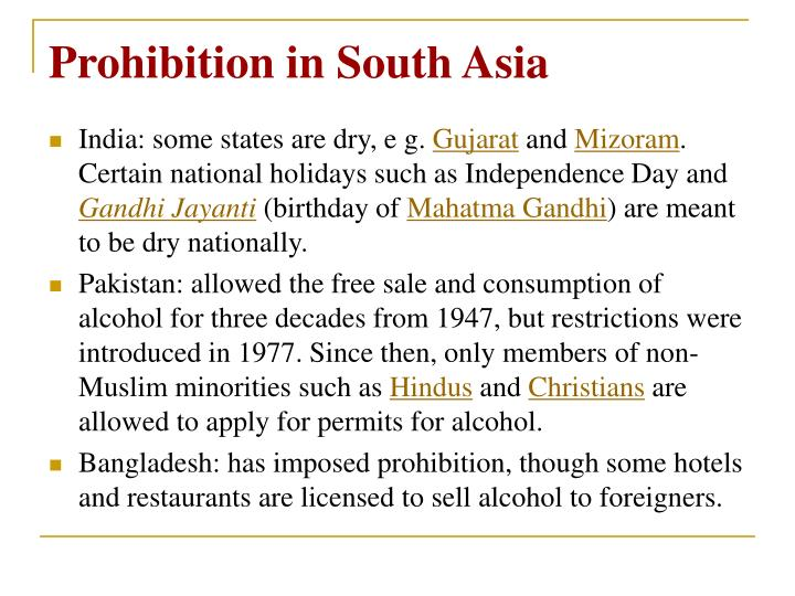 Prohibition in South Asia