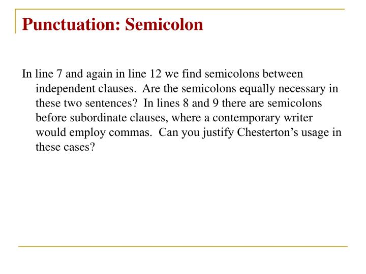 Punctuation: Semicolon