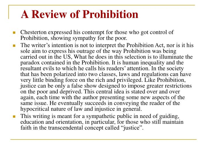 A Review of Prohibition