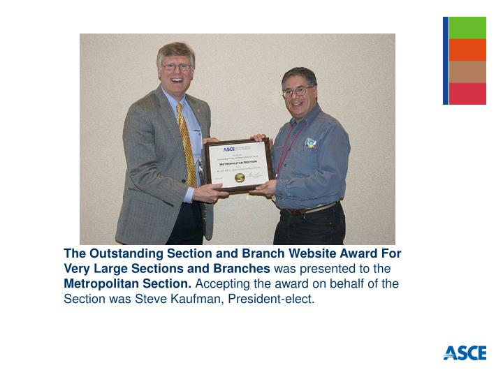 The Outstanding Section and Branch Website Award For Very Large Sections and Branches