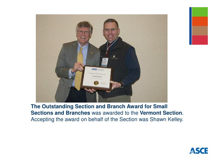 The Outstanding Section and Branch Award for Small Sections and Branches