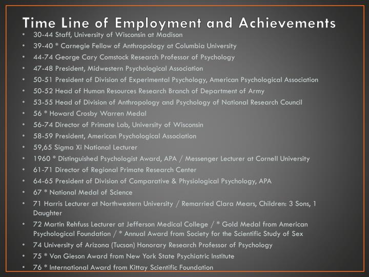 Time Line of Employment and Achievements
