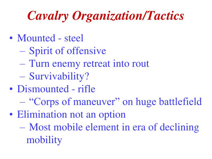 Cavalry Organization/Tactics