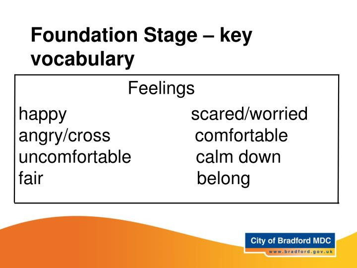 Foundation Stage – key vocabulary