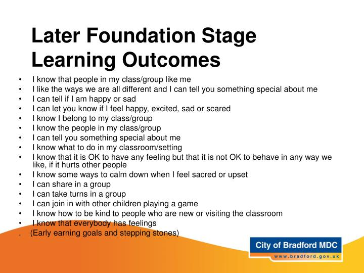 Later Foundation Stage Learning Outcomes
