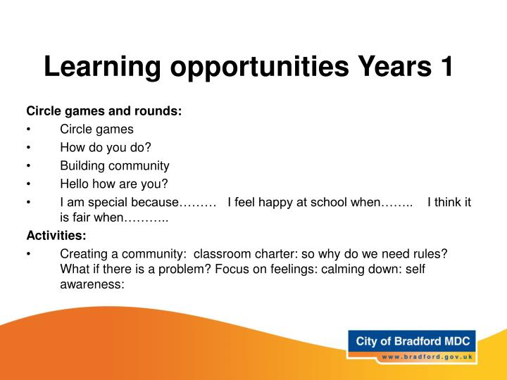 Learning opportunities Years 1