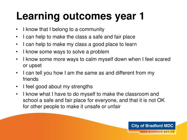 Learning outcomes year 1