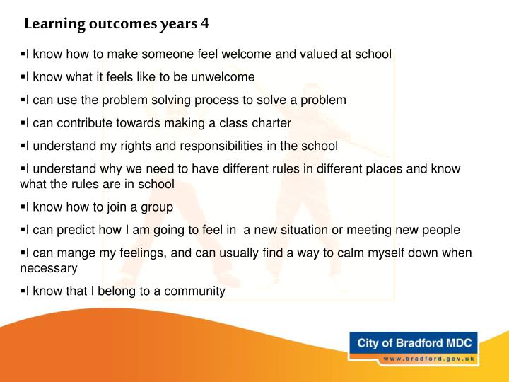 Learning outcomes years 4