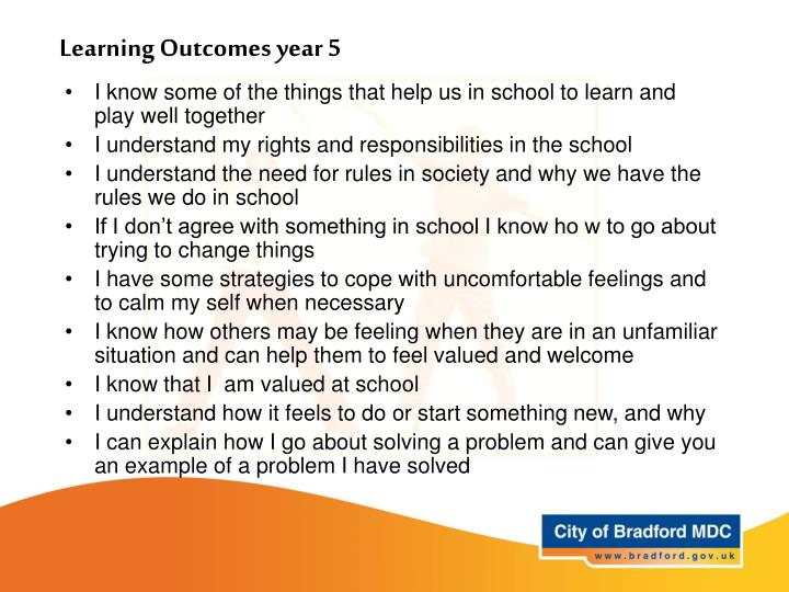 Learning Outcomes year 5