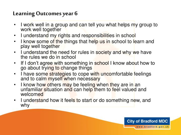 Learning Outcomes year 6