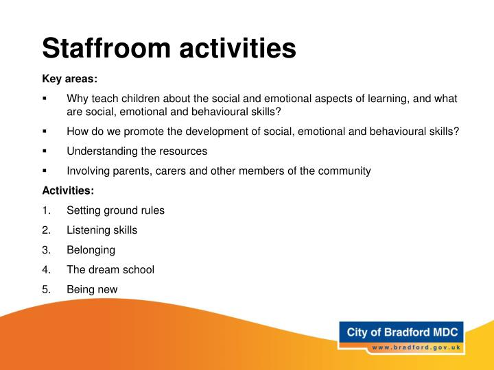 Staffroom activities