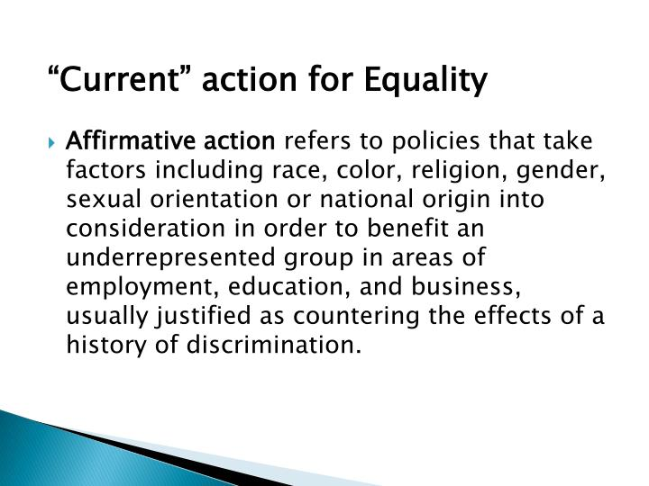 """Current"" action for Equality"