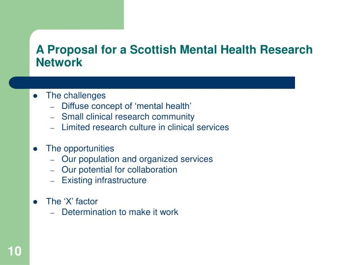 A Proposal for a Scottish Mental Health Research Network