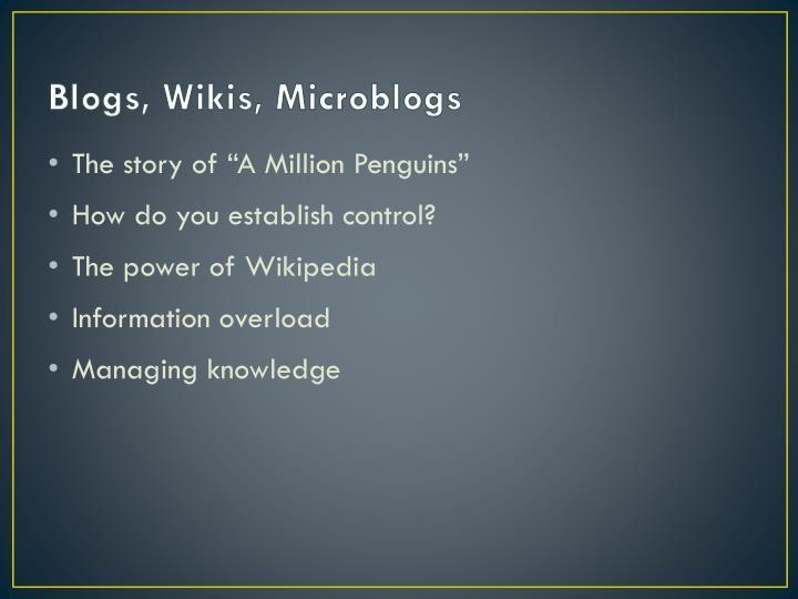 Blogs, Wikis, Microblogs