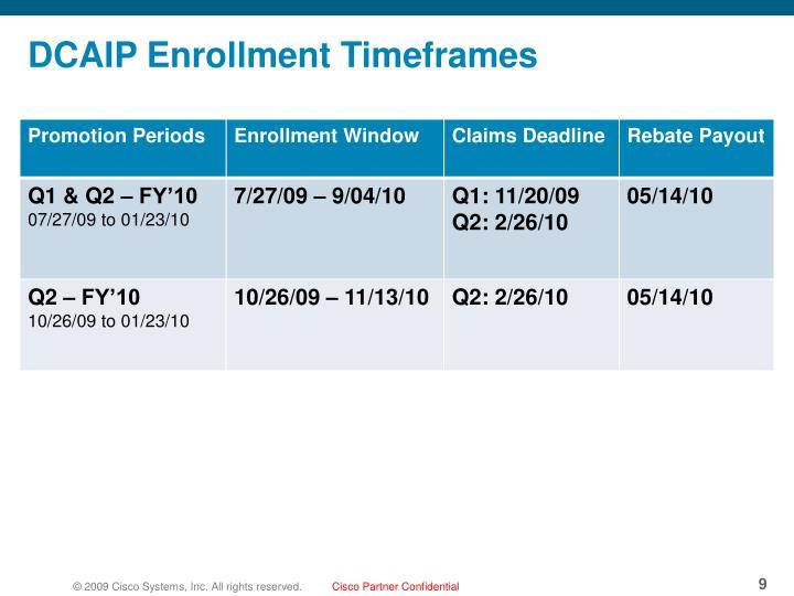 DCAIP Enrollment Timeframes