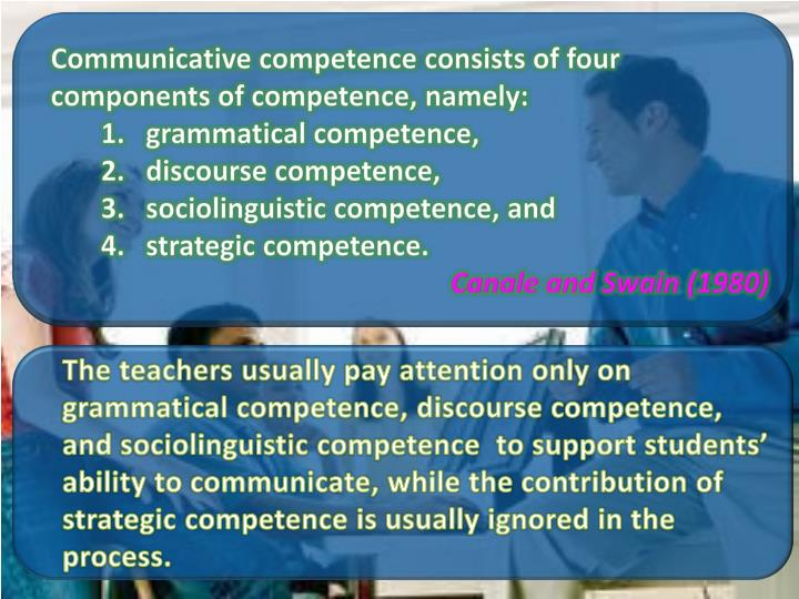 Communicative competence consists of four components of competence, namely: