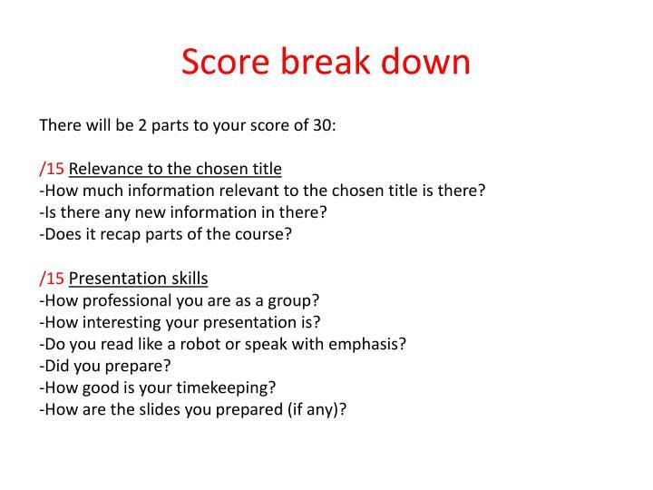 Score break down