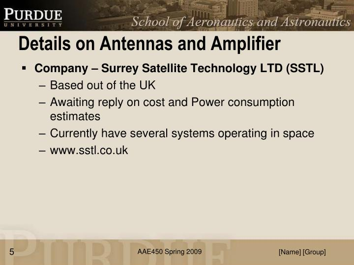 Details on Antennas and Amplifier