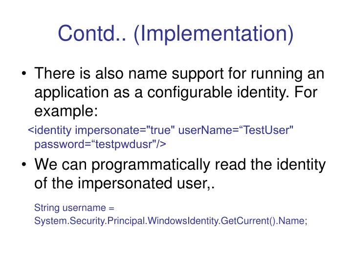 Contd.. (Implementation)