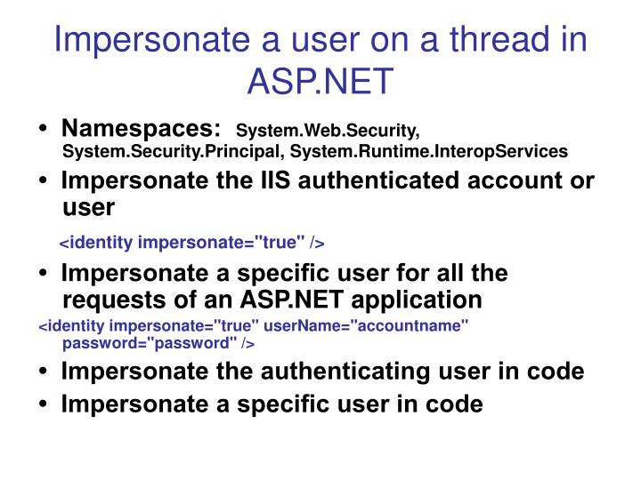 Impersonate a user on a thread in ASP.NET