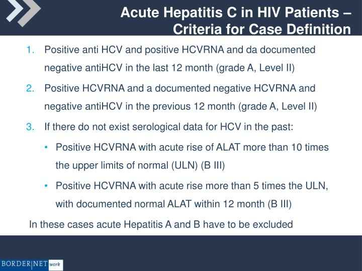 Acute Hepatitis C in HIV Patients –