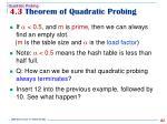 4 3 theorem of quadratic probing