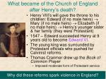what became of the church of england after henry s death