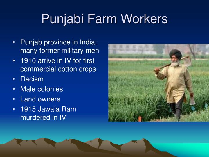 Punjab province in India:   many former military men