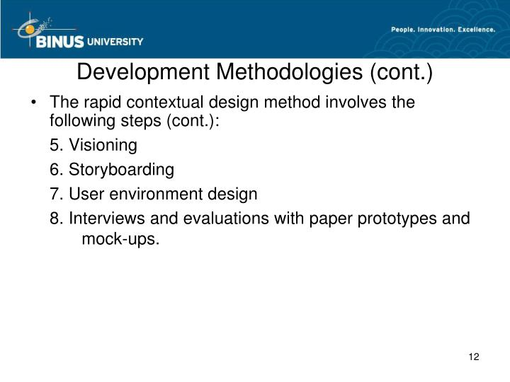 Development Methodologies (cont.)