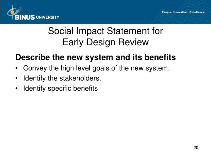 Social Impact Statement for
