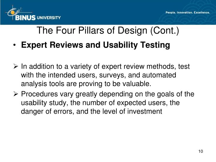 The Four Pillars of Design (Cont.)