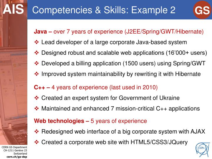 Competencies & Skills: Example 2