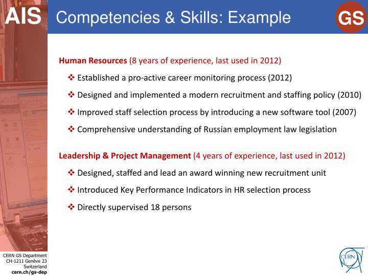 Competencies & Skills: Example