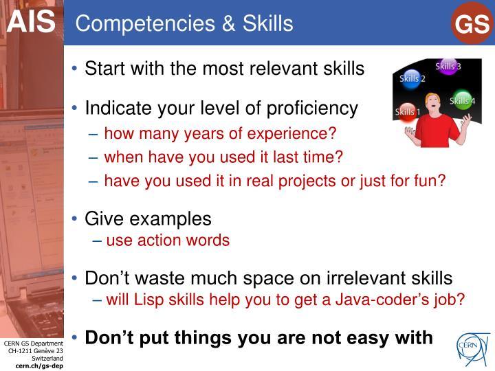 Competencies & Skills
