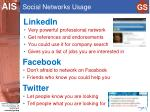 social networks usage