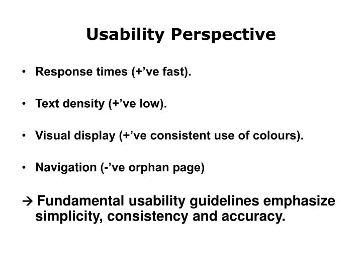 Usability Perspective